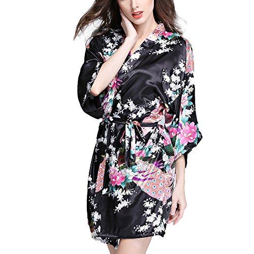 TIAQUE Damen Seiden Satin Kimono Robe Blühen Pfau Nachtwäsche Kurzes Kleid Schlafanzüge (M, Schwarz)