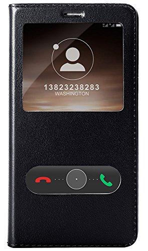 Huawei Mate 9 Custodia, Huawei Mate 9 Cover, Pasonomi Custodia in vera pelle Protettiva Cuoio Portafoglio Flip Cover S-View per Huawei Mate 9 con Chiusura Magnetica, Nero
