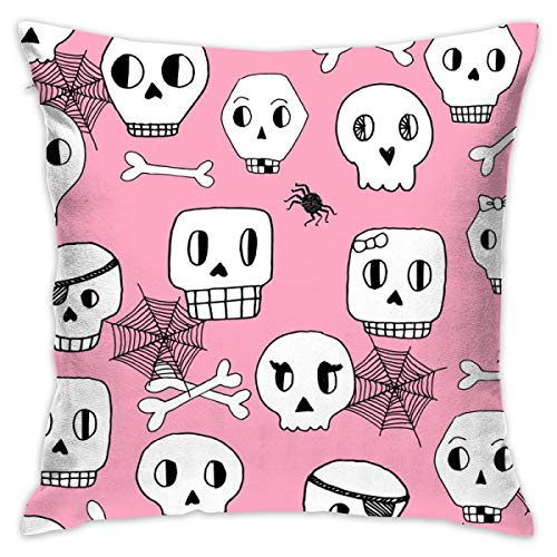 guolinadeou Beautifully Decorated Home Halloween Skulls Pink Halloween Spooky Scary Kids Bones Spiders Spider Web Throw Pillow Case 18X18 Inches
