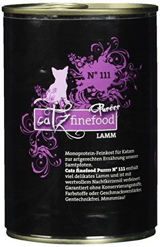 catz finefood Purrrr Lamm Monoprotein Katzenfutter nass N° 111, für ernährungssensible Katzen, 70% Fleischanteil, 6 x 400g Dose