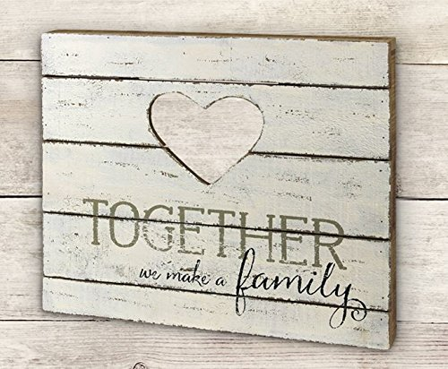 amily Verwitterte Holz Plank Herz Box Sign - Primitiv Country rustikal Decor ()