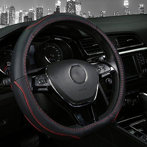 Auto-Leder-Lenkradhülle, 38 cm, D-Typ, rutschfest, schwarz, 4Farben