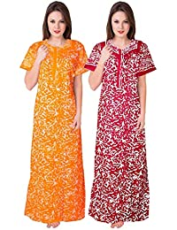 Trendy Fab Women's Cotton Nighty (Multicolor, Free Size) Combo Pack of 2 Peice