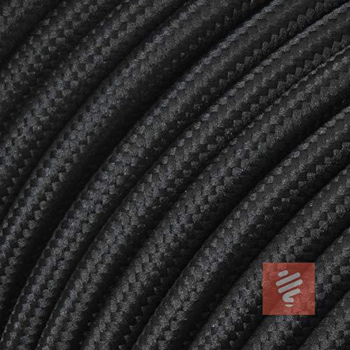 Textilkabel für Lampe, Stoffkabel 2-adrig (2x0,75mm²), Schwarz - 10 Meter