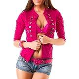Sexy Damen Top Oberteil Shirt Military Jäckchen Bolero Jacke mit Knöpfen in 6 Farben, Größe:S/M;Farbe:Pink