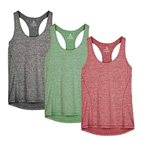 icyzone Damen Sporttop Yoga Tank Top Ringerrücken Oberteil Laufen Fitness Funktions Shirt (S, Charcoal/Burgundy/Turf Green)