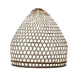 Lampenschirm Charly Bambus M, 40x40cm – weiss, Bambuslampen aus Bali, handgemachte Lampenschirme aus Bambus, als Hängelampe, Pendelleuchte über Esstisch, im Kinderzimmer oder als Wohnzimmerlampe.