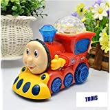 TROIS Musical Engine Bump And Go Train Toy For Kids With 4D Light & Sound, Train Set Toys For Kids (Random Color)