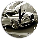 silberner Audi im Tunnel, Wanduhr Durchmesser 30cm mit schwarzen eckigen Zeigern und Ziffernblatt, Dekoartikel, Designuhr, Aluverbund sehr schön für Wohnzimmer, Kinderzimmer, Arbeitszimmer