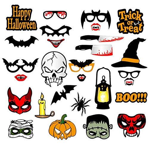HITSAN INCORPORATION Halloween Party Decoration Photo Booth Props Pumpkin Bats Spider Masks Photobooth Props for Halloween Party Decoration Color C1 28PCS