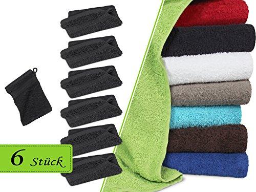 Frottiertücher in unifarbenem Design - ideal als Basic fürs heimische Bad - komplette Serie in flauschiger Frotteequalität erhältlich in 4 verschiedenen Größen und in 9 modernen Farben, 1 Pack (6 Stück) - Waschhandschuhe [16 x 20 cm], anthrazit