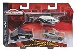 Majorette 212057300 - Gangster Chase, Set mit drei Fahrzeugen, Auto: 7,5 cm, Helikopter: 13cm