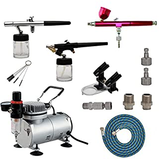 ABEST Airbrush Compressor Kit Multi-Purpose Professional Airbrushing System with 3 Airbrushes in 0.3MM, 0.35MM, 0.8MM, Quick Coupler, Air Hose & Airbrush Holder