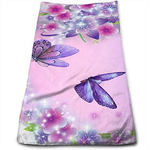 Hipiyoled Schmetterling Liebe Blume Mikrofaser 3D Design Muster Handtuch 12 x 27,5 Handtuch Handtücher