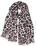 Caspar SC501 weicher warmer Damen XL Schal mit Leo Animal Print, Farbe:rosa, Größe:Einheitsgröße