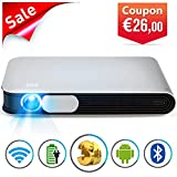 WOWOTO DLP Mini Beamer 3D Full HD LED Projektor 3200 Lumens Unterstützt 1080p mit Akku Android 4.4 OS WiFi HDMI USB AV AirPlay Bluetooth für Laptop Handy Tablet PC TV PS4 XBOX Heimkino Beamer