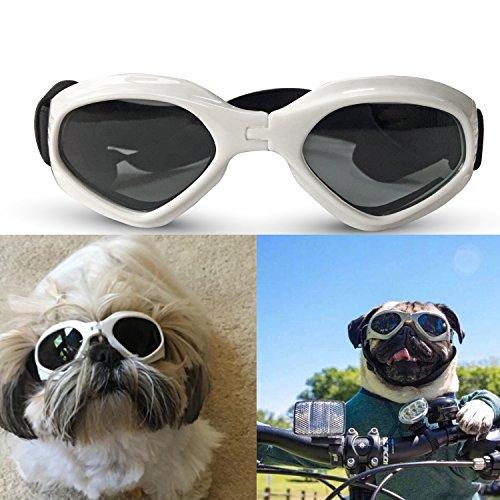 Zongsi Hundebrille Fashion Haustier Hund Sonnenbrille Eye Wear Hund Wasserdicht Schutz UV Sonnenbrille Schutzbrille für kleine Mittelhunde(Weiß)