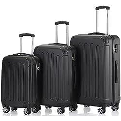 Zwillingsrollen 3 tlg.2045 neu Reisekofferset Koffer Gepäckset Kofferset Trolleys Hartschale in 14 Farben (Schwarz)