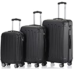 Twin Rolls 3 tlg.2045 new Travel Suitcase Suitcase Suitcase Trolleys Hard Shell in 12 Colors (Black)