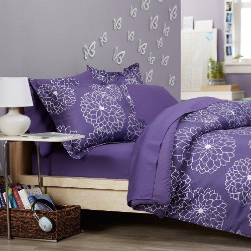 Pinzon Badteppich Bett in einer Tasche, lila Blumen, Polyester, Violett/Blumenmuster, Twin XL