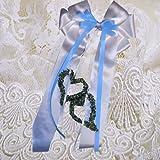 Baby Taufe Schleife für Taufkissen Kissenschleife mit Herzen sehr edel alle Farben ITP030 (weiß/hellblau)