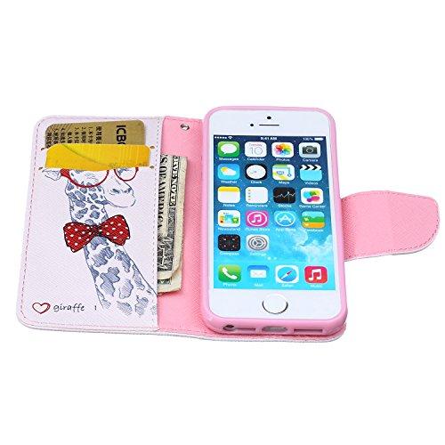 SpiritSun Coque PU Cuir Etui pour Apple iPhone 5 / 5S Pochette Housse de Protection Stand Wallet Coque Housse Rabat à Magnétique Case Fente Carte Encastrée - Girafe Girafe