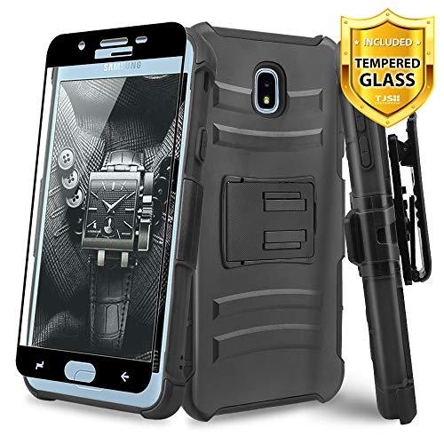 A/v-ständer Glas (TJS Schutzhülle für Samsung Galaxy J7 2018/J7 Refine/J7 Star/J7 Aero/J7 V 2018, mit Displayschutzfolie aus gehärtetem Glas, Gürtelclip, stoßdämpfend, mit Ständer, schwarz)