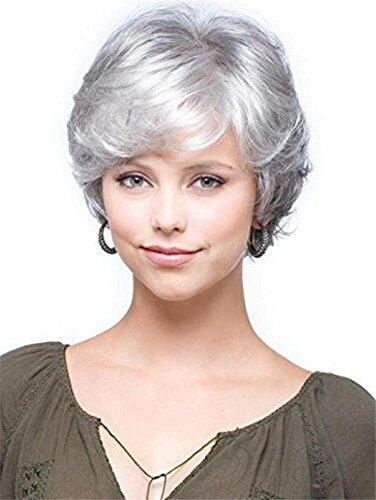 Lange Aus Menschlichen Haar Perücke (Kurz Grau Weiß Lockig Perücke Natürlich Wellig Flaumig Splitter Haar zum Alt Mitte Alter Frau und Oma)