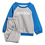 adidas Baby Linear Jogger Fleece Trainingsanzug, Medium Grey Heather/Blue/White, 104