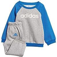 Adidas I Lin FL Pantalón de Chándal, Niños, Gris/Blanco / Azul (Medium Heather), 104