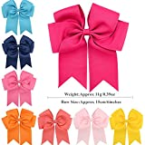 """GBATERI 20 Pack Baby Girls 6"""" Big Large Jumbo Cheer Hair Bows Clips Boutique Grosgrain Ribbon Alligator Clip Barrettes for Baby Girls Teens Toddlers Kids Children Hair Accessories Gifts Set"""