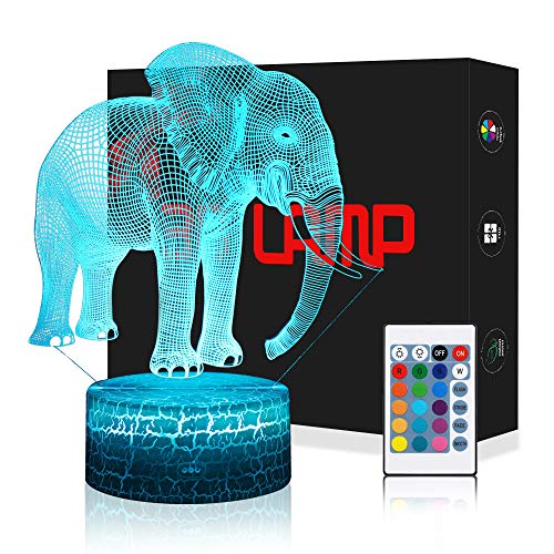 LED Lámpara de Mesa 3D Elefante con Control Remoto Sensor Tacto, QiLiTd Regulable Lámpara de Noche de Atmósfera Modo RGB, Decoracion Cumpleaños, Navidad Regalos de Mujer Bebes Hombre Niños Amigas