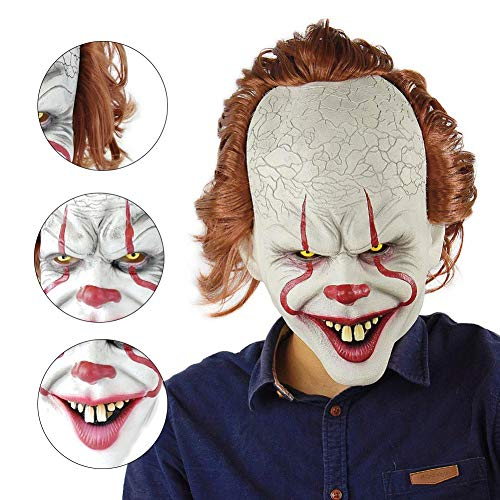 zhaokai Horror Clown Maske Latex Maske Cosplay Scary Maske Kostüm Clown Maske Halloween-Kostüm Creepy Party Horror Requisiten (Creepy Clown Kostüm)