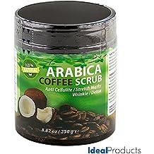 Ideal Products Exfoliante Corporal de Café Arábica 100% Natural, con Coco y Aceite de Argán orgánico, excelente para combatir la Celulitis, las Estrías y las Arrugas, además de Desintoxicante, facilita el Drenaje y tiene efecto Reafirmante - envase de 8.82 oz/250 gr.