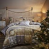 Catherine Lansfield Christmas Greetings Single Bettwäsche-Set–Multi, Gold/Silber