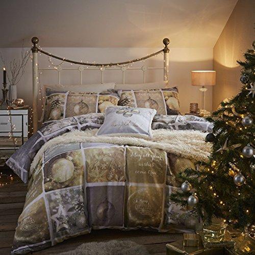 Catherine lansfield christmas greetings, copripiumino matrimoniale, letto king–multi, oro/argento