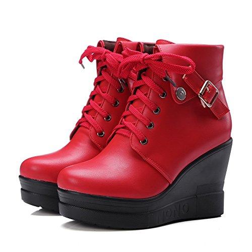 Botas Com Vermelho Pé Fivela Calcanhar Alta Allhqfashion Rendas Dedo Puros Do Pu Senhoras Redondo x4qgPYwp1