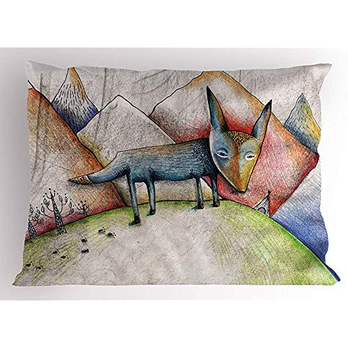 Saudade House 2pcs Fox Pillow Sham,Bleistift Illustration eines Fuchses zu Fuß auf den Bergen Traurigkeit und Einsamkeit Themen,dekorative Standard King Size gedruckt Kissenbezug,36 'X 20' -