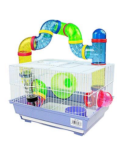 Cage pour hamster 34,5 x 28 x 24 cm avec tubes de couleurs