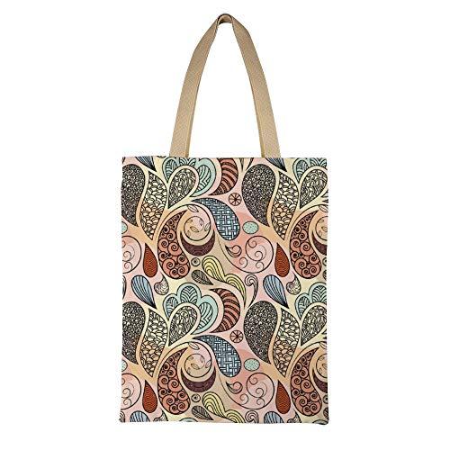 DKISEE Seamless Ethnic Reusable Canvas Tote Handbag Eco-Friendly Printed Tote Bag Large Casual Shoulder Bag Shopping Bag -
