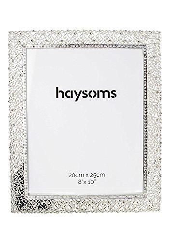 """Preisvergleich Produktbild Quadratischer Bilderrahmen aus Metallguss 8"""" x 10"""" Kristall - Silber von Haysoms"""