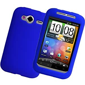 iGloo Premium: Flexible Soft Silicone Skin Case Cover for HTC Wildfire S - Blue