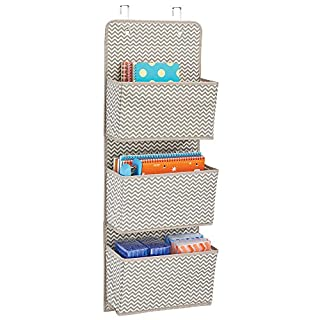 mDesign Office Wall Storage - Over Door Storage for File Folders, Pens, Pencils & Office Accessories – Home Office Storage Solutions - Home Office Shelving - 3 Pockets, Taupe/Natural