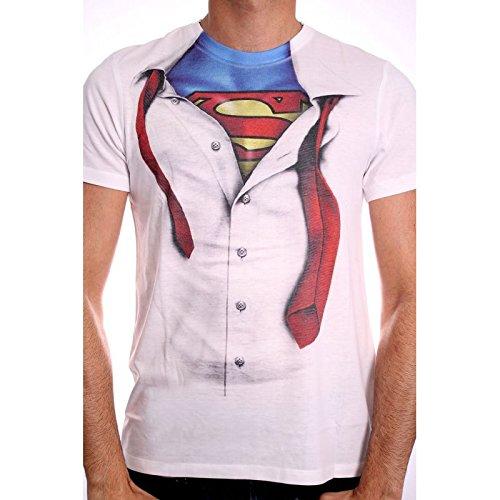 Superman Clark Kent T-Shirt Hemdmotiv mit Helden Uniform Dc Comics lizenziert weiß - M (Kent Clark Superman)