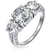 Bling Jewelry 925 Silver Past Present Future 3 Stone CZ Engagement Ring