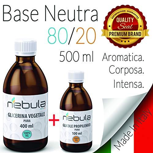 KIT BASE NEUTRA 500 ML - GLICOLE PROPILENICO + GLICERINA VEGETALE 80VG/20PG