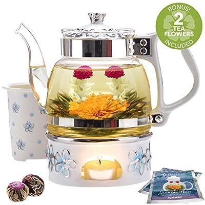 Coffret cadeau théière Princess of Monaco de la marque Teabloom - Théière en verre borosilicaté (1000 ml), couvercle en porcelaine, chauffe-théière, infuseur à thé en porcelaine + 2 fleurs de thé