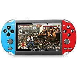Saingace Console De Jeu Portables,RéTro Classique X7 PSP Jeux De Poche Portables 800 IntéGréS De 4.3 Pouces,Les Cadeaux Les Enfants (Bleu et Rouge)