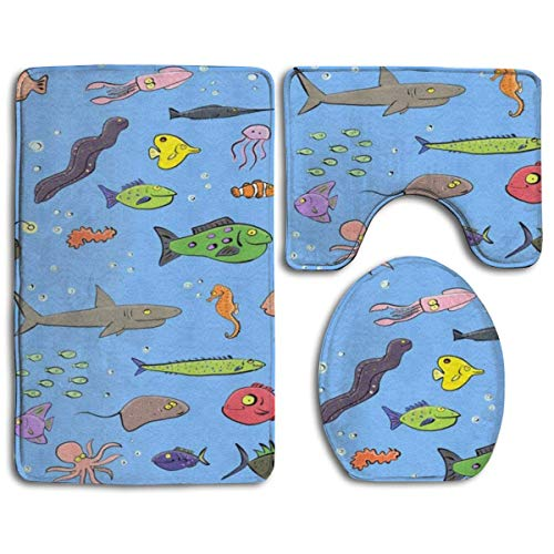 ouyjian IconSymbol Non-Slip 3 Piece Bathroom Carpet Set Cute Cartoon Sea Life Fish Pattern with Blue Background Memory Foam Extra Soft Contour Mat Combination (Socken Argyle Stricken)