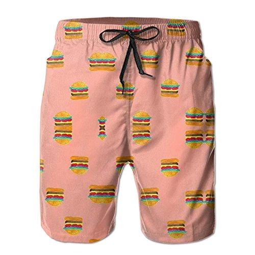 khgkhgfkgfk Hamburgers Seamless Pattern Men's Summer Casual Swimming Shorts Beach Board Shorts Medium